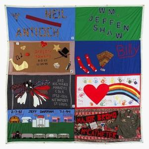 Neil's panel on the AIDS Memorial Quilt (upper left)